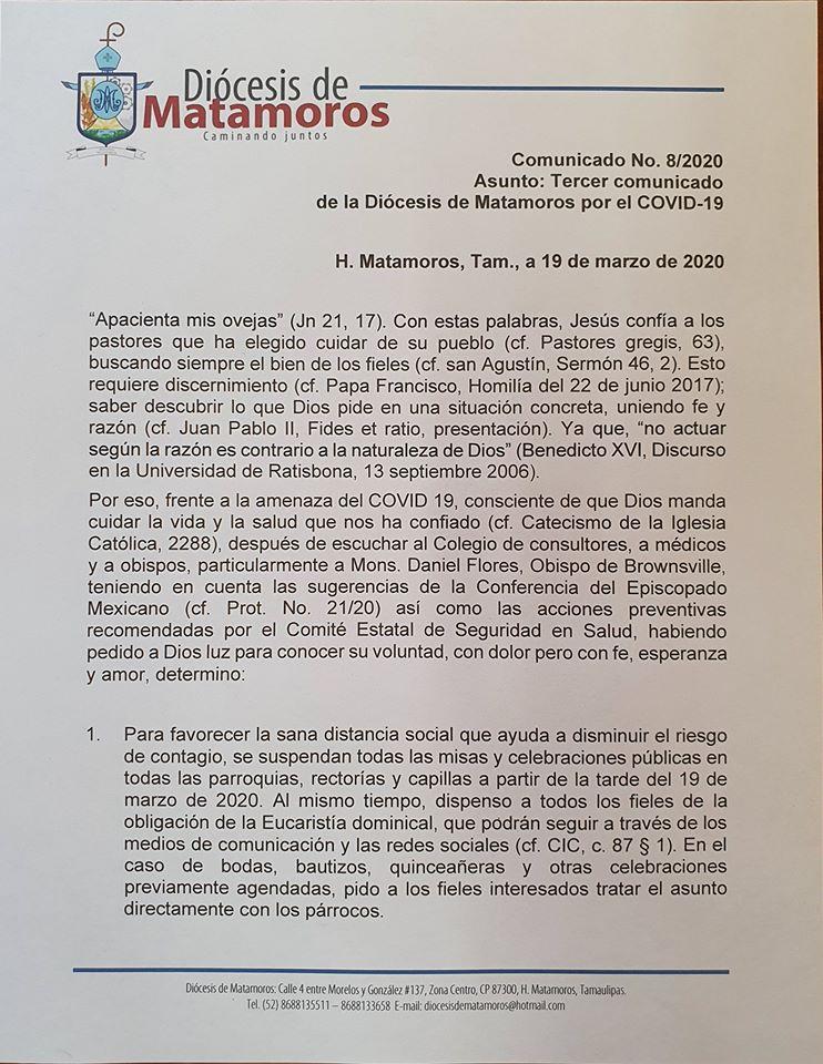 Tercer comunicado de la Diócesis de Matamoros sobre el COVID-19