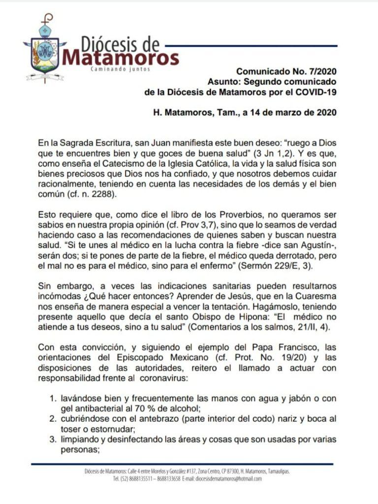 Segundo comunicado de la Diócesis de Matamoros sobre el COVID-19